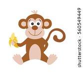 Funny Monkey With Banana. Cute...