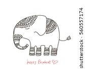 cute elephant illustration.... | Shutterstock .eps vector #560557174