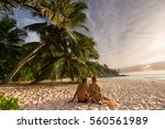 couple in love relaxing on... | Shutterstock . vector #560561989