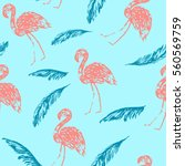 summer flamingo and palm leaves ... | Shutterstock .eps vector #560569759