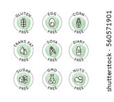 Isolated Vector Watercolor Logo Set Badge Ingredient Warning Label Icons. Allergens Gluten, Lactose, Soy, Corn, Diary, Milk, Sugar, Trans Fat. Vegetarian and Organic symbols. Food Intolerance