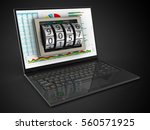 3d illustration of laptop... | Shutterstock . vector #560571925