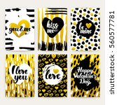valentines day gold trendy... | Shutterstock .eps vector #560577781