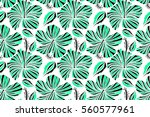 hibiscus flower seamless... | Shutterstock . vector #560577961