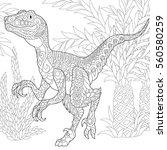 stylized velociraptor dinosaur... | Shutterstock .eps vector #560580259