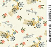 spring floral seamless...   Shutterstock .eps vector #560583175