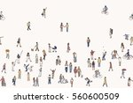 Seamless banner of tiny people, can be tiled horizontally: pedestrians in the street, a diverse collection of small hand drawn men and women walking through the city | Shutterstock vector #560600509
