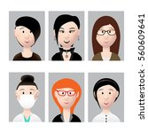 people faces set | Shutterstock .eps vector #560609641