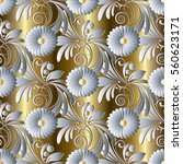 3d Floral Seamless Pattern...