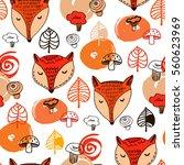 cute fox  leaf  and mushroom... | Shutterstock .eps vector #560623969