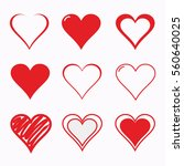 red heart icon set vector... | Shutterstock .eps vector #560640025