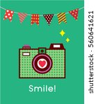 cute camera smile card poster...   Shutterstock .eps vector #560641621