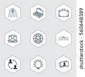 set of 9 business management... | Shutterstock .eps vector #560648389