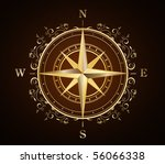 golden ornate compass rose | Shutterstock .eps vector #56066338