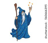 Wizard Cartoon With Blue And...