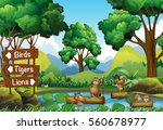 beavers in the pond and signs... | Shutterstock .eps vector #560678977