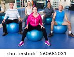 group of active adults doing... | Shutterstock . vector #560685031