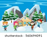 children playing in snow at... | Shutterstock .eps vector #560694091