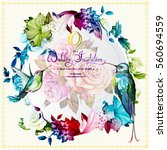 wedding invitation with roses... | Shutterstock .eps vector #560694559