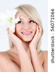 beautiful woman with flower   Shutterstock . vector #56071066