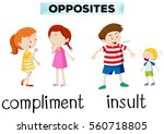 opposite words for compliment... | Shutterstock .eps vector #560718805