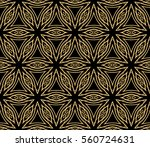 golden floral geometric lace... | Shutterstock . vector #560724631