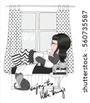 cute girl vector.  | Shutterstock .eps vector #560735587