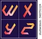colorful polygonal font graphic ... | Shutterstock .eps vector #560751124