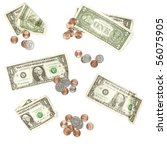 Us Currency Isolated On White...