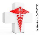 red caduceus symbol  in front... | Shutterstock . vector #560763715