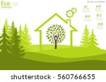 the tree inside the house on... | Shutterstock .eps vector #560766655