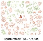 big collection of doodle tae... | Shutterstock . vector #560776735