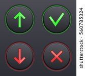set on black buttons. up and... | Shutterstock .eps vector #560785324