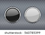 black and white round glass... | Shutterstock .eps vector #560785399