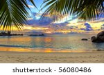 Stock photo tropical beach at sunset nature background 56080486