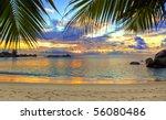 Tropical Beach At Sunset  ...
