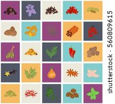 set of color flat spice icons... | Shutterstock .eps vector #560809615