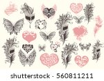 collection of vector hearts ... | Shutterstock .eps vector #560811211