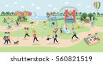 Big vector map of park. Cartoon funny illustration of different type of people relaxing in nature in a beautiful urban lands?ape, city skyline on the background. Children playground, sportsmen | Shutterstock vector #560821519