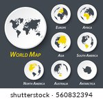 World And Continent Map On...