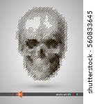 halftone skull  line  wave....   Shutterstock .eps vector #560833645