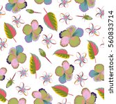 tropical floral seamless... | Shutterstock .eps vector #560833714
