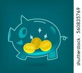 saving money crystal piggy bank ... | Shutterstock .eps vector #560835769