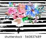 Watercolor Floral Card. Stripe...