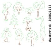 hand drawn set of trees. doodle ...   Shutterstock .eps vector #560838955