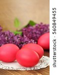 Colorful Easter Eggs On Wooden...