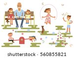 happy childhood concept.... | Shutterstock .eps vector #560855821
