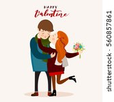 couple kissing  valentines day... | Shutterstock .eps vector #560857861