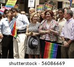 NEW YORK - JUNE 27: David Paterson, Andrew Cuomo, Kirsten Gillibrand, Cristine Quinn, Michael Bloomberg attend the 2010 New York City Gay Pride March on the streets of Manhattan on Jun 27, 2010 in NYC - stock photo