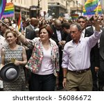 NEW YORK - JUNE 27: Kirsten Gillibrand, Cristine Quinn, Michael Bloomberg attend the 2010 New York City Gay Pride March on the streets of Manhattan on June 27, 2010 in New York City. - stock photo
